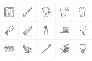Dentistry hand drawn outline doodle icon set.