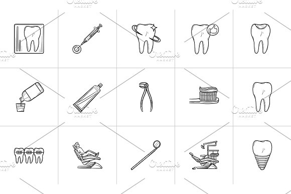 Dentistry Hand Drawn Outline Doodle Icon Set