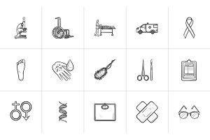 Medicine hand drawn outline doodle icon set.