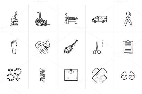 Medicine Hand Drawn Outline Doodle Icon Set