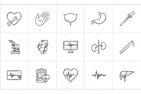 Medicine Hand Drawn Outline Doodle Icon Set