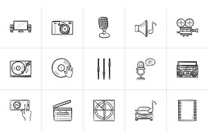 Media hand drawn sketch icon set.