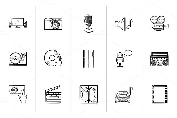 Media Hand Drawn Sketch Icon Set