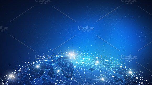 Blockchain Technology Futuristic Hud Banner With Globe