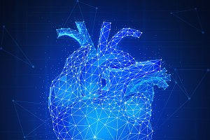 Polygon human's heart 3d on blue background.