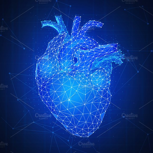 Polygon Human's Heart 3D On Blue Background