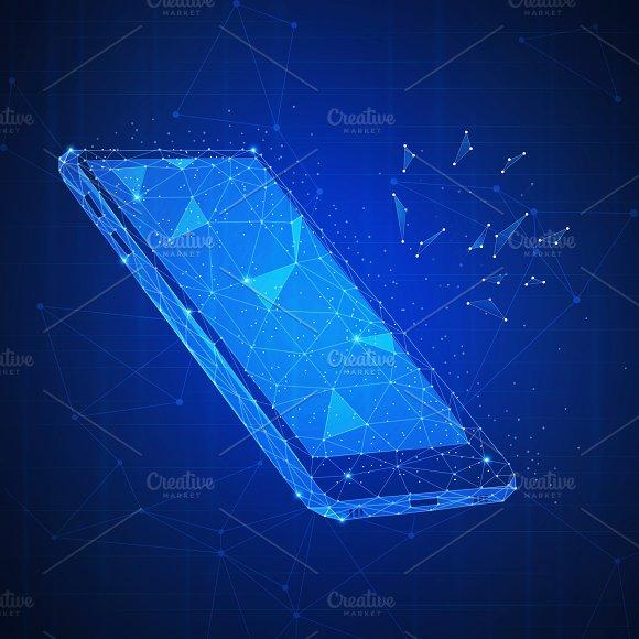 Polygon 3D Smartphone On Blockchain Hud Banner