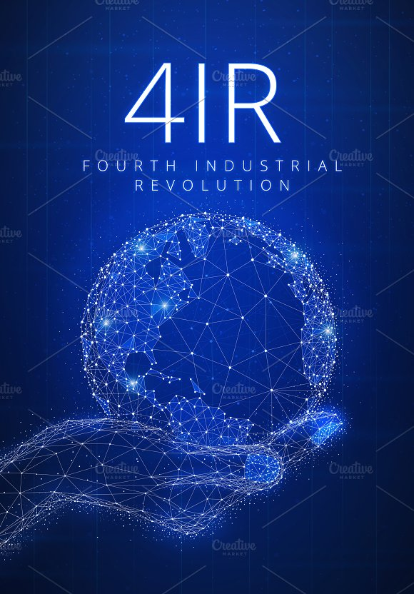Fourth Industrial Revolution Futuristic Hud Banner With Globe In