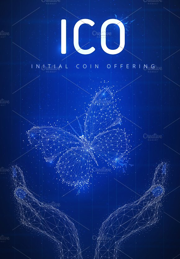 ICO Initial Coin Offering Hud Banner With Hands And Butterfly