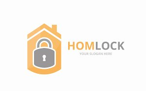 Vector lock and real estate logo
