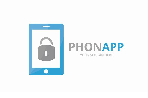 Vector Lock And Phone Logo Combination Safe And Mobile Symbol Or Icon Unique Padlock And Device Logotype Design Template