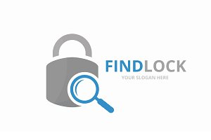 Vector lock and loupe logo