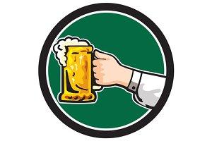 Hand Holding Mug Beer Circle Retro