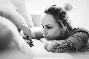 Caucasian woman using a mobile phone