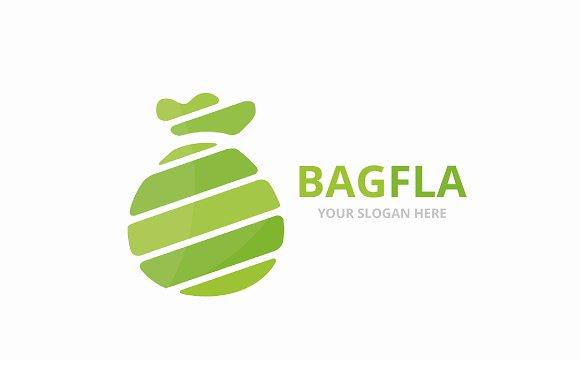 Vector Bag Logo Combination Sack And Bank Symbol Or Icon Unique Money Logotype Design Template