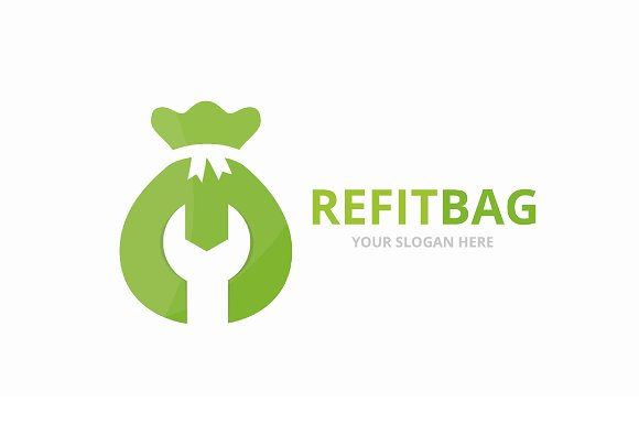Vector Of Bag Logo Combination Sack And Repair Symbol Or Icon Unique Money And Fix Logotype Design Template