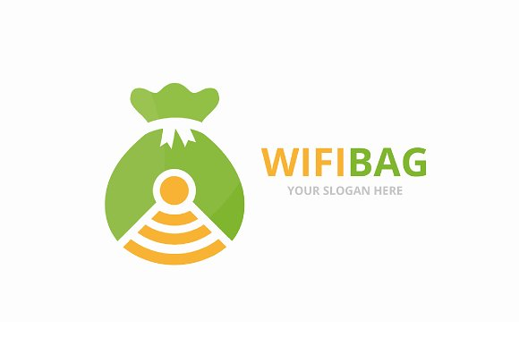 Vector Bag And Wifi Logo Combination Sack And Signal Symbol Or Icon Unique Money And Radio Internet Logotype Design Template