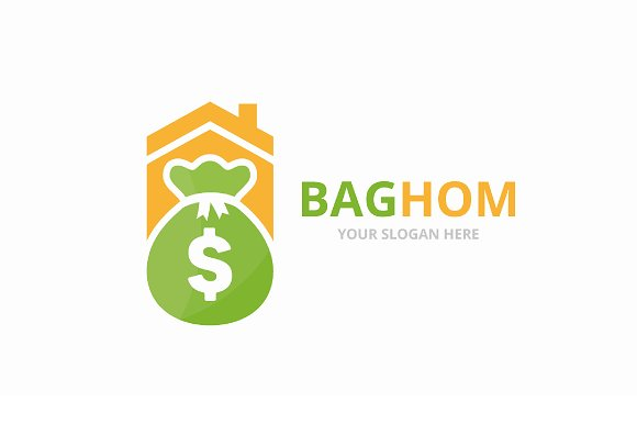Vector Bag And Real Estate Logo Combination Sack And House Symbol Or Icon Unique Money And Rent Logotype Design Template