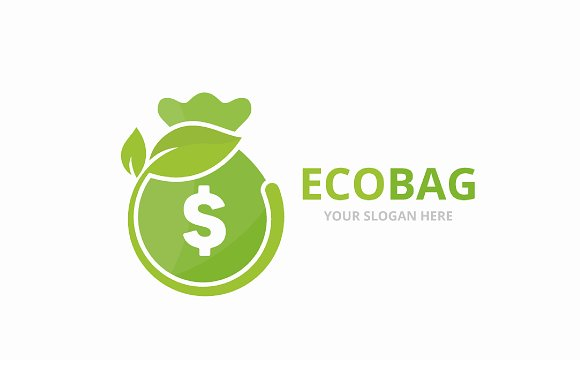 Vector Bag And Leaf Logo Combination Sack And Eco Symbol Or Icon Unique Money And Organic Logotype Design Template