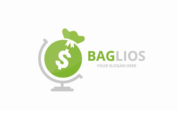 Vector Bag And Globe Logo Combination Sack Planet Symbol Or Icon Unique Money Logotype Design Template