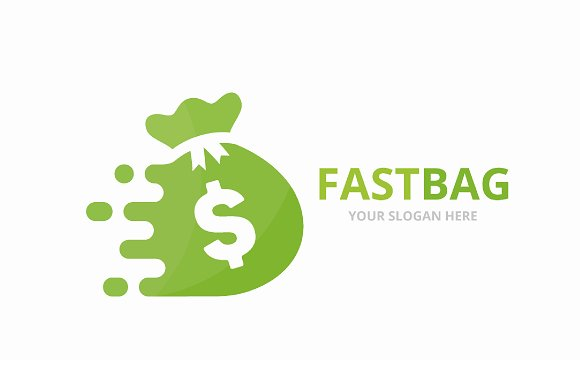 Vector Fast Bag Logo Combination Speed Sack Symbol Or Icon Unique Money And Digital Logotype Design Template