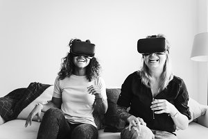 Women experiencing virtual reality