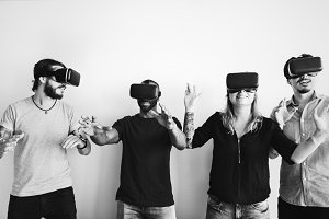 Friends experiencing virtual reality