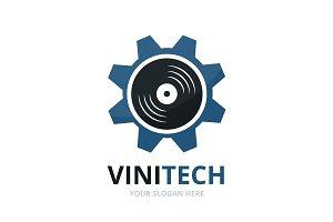 Vector vinyl and gear logo