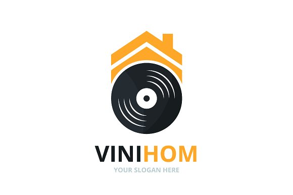Vector Vinyl And Real Estate Logo Combination Record And House Symbol Or Icon Unique Music Album And Rent Logotype Design Template