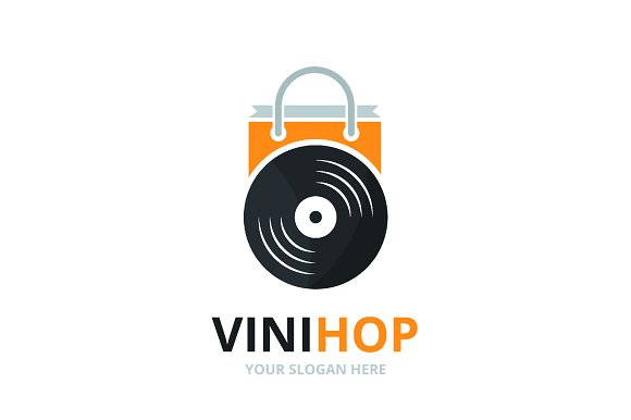 Vector Vinyl And Shop Logo Combination Record And Sale Symbol Or Icon Unique Music Album And Bag Logotype Design Template