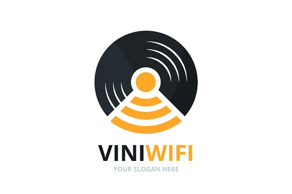 Vector Vinyl And Wifi Logo Combination Record And Signal Symbol Or Icon Unique Music Album And Radio Internet Logotype Design Template