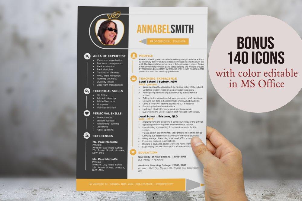 2 in 1 modern teacher word resume resume templates creative market