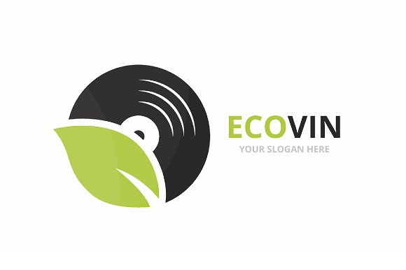 Vector Vinyl And Leaf Logo Combination Record And Eco Symbol Or Icon Unique Music Album And Organic Logotype Design Template
