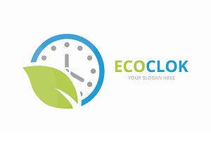Vector clock and leaf logo