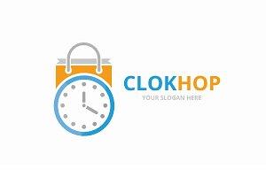 Vector clock and shop logo