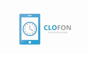 Vector clock and phone logo