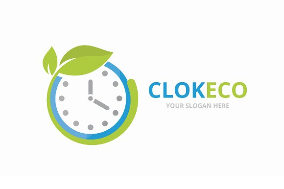 Vector Clock And Leaf Logo Combination Time And Eco Symbol Or Icon Unique Express And Organic Logotype Design Template