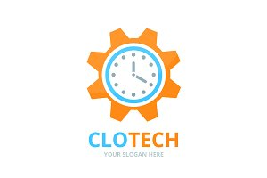Vector clock and gear logo