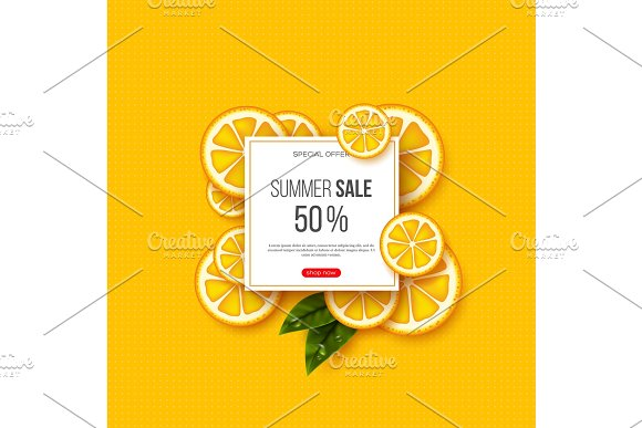 Summer Sale Banner With Sliced Orange Pieces Leaves And Dotted Pattern Yellow Background Template For Seasonal Discounts Vector Illustration
