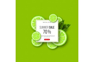 Summer sale banner with sliced lime pieces, leaves and dotted pattern. Green background - template for seasonal discounts, vector illustration.