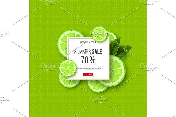 Summer Sale Banner With Sliced Lime Pieces Leaves And Dotted Pattern Green Background Template For Seasonal Discounts Vector Illustration