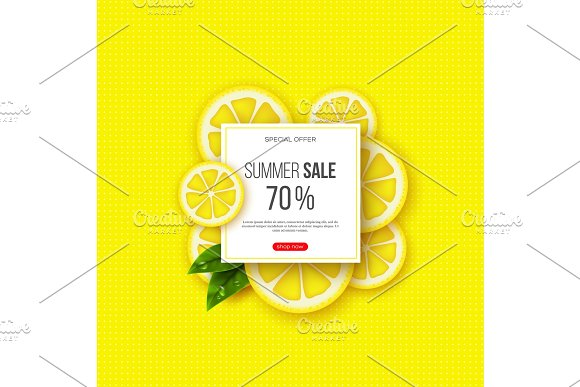 Summer Sale Banner With Sliced Lemon Pieces Leaves And Dotted Pattern Yellow Background Template For Seasonal Discounts Vector Illustration