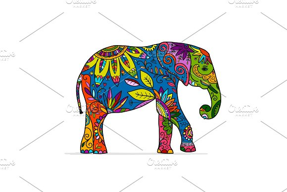 Elephant Ornate Sketch For Your Design