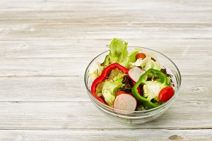 salad fresh vegetable with a glass