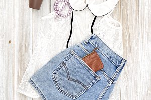 Summer casual style. Modern woman clothes and accessories collage