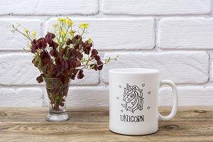 White coffee mug mockup with maroon