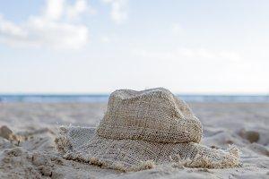 hat on the beach