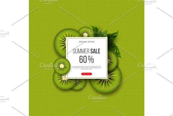 Summer Sale Banner With Sliced Kiwi Pieces Leaves And Dotted Pattern Green Background Template For Seasonal Discounts Vector Illustration