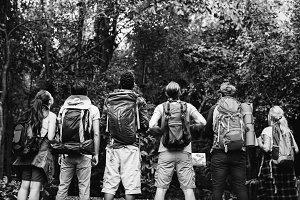 Friends trekking together in forest