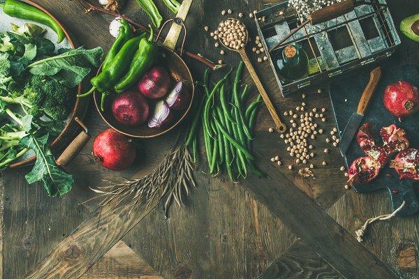 Food Stock Photos - Winter vegetarian or vegan food cooking ingredients